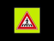 Verkeersbord RVV J22f - FLUOR Voetgangers-oversteekplaats fluor