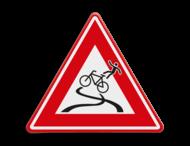 Verkeersbord - waarschuwing slipgevaar fietsers