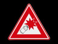 Verkeersbord - PAS OP Carbid schieten