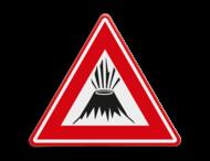 Verkeersbord - waarschuwing vulkaan