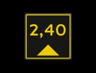 Scheepvaartbord BPR G.5.3 - Aanduiding diepte geel/zwart