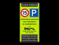 Parkeerbord FLUOR eigen terrein E04/A01-15 + eigen tekst