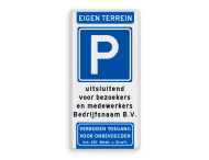 Parkeerbord eigen terrein E04 + eigen tekst - verboden toegang