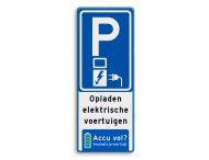 Verkeersbord parkeren elektrische voertuigen zonder volle accu