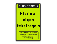 Tekstbord FLUOR met banner en pictogram