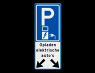 Verkeersbord parkeren elektrische auto's voor 2 vakken