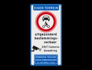 Informatiebord EIGEN TERREIN - Gesloten voertuigen - eigen tekst - Camera - Art. 461
