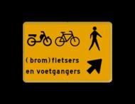 Omleidingsbord - (brom-)fietsers en voetgangers oversteken - Werk in uitvoering