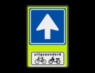 Verkeersbord RVV C03OB54f - Eenrichtingsweg met uitzondering - fluor achtergrond