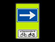 Verkeersbord RVV C04OB54f - Eenrichtingsweg met uitzondering - fluor achtergrond