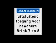 Terreinbord met eigen tekst (standaard 400x400mm)