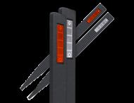 Bermpaal zwart - gerecycled kunststof - 1200x90x30mm + reflector rood/wit