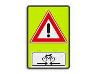 Verkeersbord RVV J37OB503OB02f - FLUOR overstekende fietsers