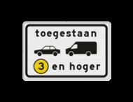 Verkeersbord RVV C22a1 - Onderbord - Milieuzone auto en busje