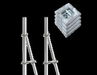 Opstelunit A02 buispaal 3200mm boven maaiveld - compleet met betonvoeten