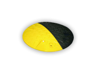 Verkeersdrempel Ø420x50mm - geel/zwart (2-delig) - gerecycled kunststof