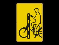 Verkeersbord RVV VR01 geel/zwart - 200x300mm - Fietsers
