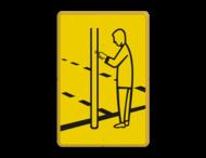 Verkeersbord RVV VR03 geel/zwart - 200x300mm - Voetgangers