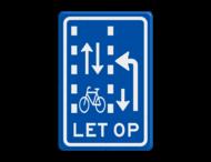 Verkeersbord RVV VR10-03 - Let op: recht doorgaande fietsers in twee richtingen