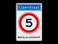 Informatiebord Straatnaam + snelheidsbeperking