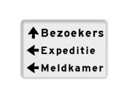 Parkeerroutebord 3 regelig + pijl links - eigen tekst