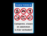 Informatiebord Eigen terrein - Camperen en zwemmen verboden