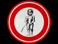 Verkeersbord - Verboden te plassen - manneke pis