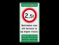 Verkeersbord Privéterrein met betreden voor eigen risico en art 461