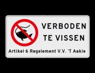 Verkeersbord Verboden te vissen met artikel tekst