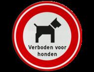 Verbodsbord Verboden voor honden met tekst