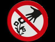 Verbodsbord - Bloemen plukken verboden