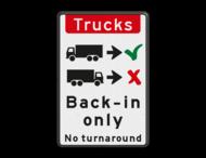 Verkeersbord - Trucks drive in backwards only