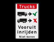 Verkeersbord - vrachtwagens vooruit inrijden