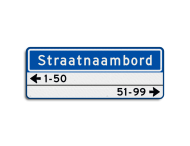 Straatnaambord 14 karakters 800x300 mm + 2 regelig huisnummers NEN 1772