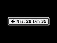 Huisnummerbord 14 karakters 800x150 mm met pijl NEN 1772