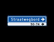 Straatnaambord 14 karakters 800x200 mm pijl rechts + Huisnummers NEN 1772