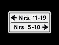 Huisnummerbord 10 karakters 600x300 mm 2 regelig met pijl NEN 1772