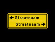 Straatnaambord geel 14 karakters 800x300 mm 2 regelig met pijl NEN 1772