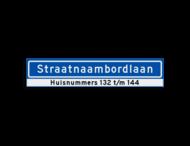Straatnaambord KOKER 1000x200mm - max. 18 karakters - met huisnummers - NEN1772