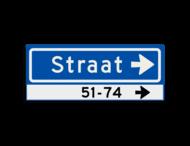 Straatnaambord KOKER 500x200mm - max. 8 karakters - huisnummers en pijl rechts - NEN1772