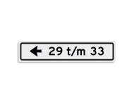 Verwijsbord KOKER huisnummers 700x150 mm met pijl NEN 1772