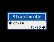 Straatnaambord KOKER 700x300mm - max. 12 karakters - met 2 regels huisnummers - NEN1772