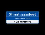 Straatnaambord 14 karakters 800x300mm + ondertekst en huisnummers NEN 1772