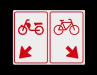 Verkeersbord RVV D105 - 800x600mm (brom-)fietsers van rijbaan wissen