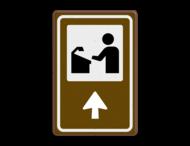 Routebord BW101 (bruin) - 1 pictogram met aanpasbare pijl