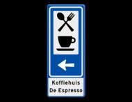 Routebord BW101 (blauw) - 2 pictogrammen met pijl en tekst