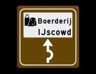 Routebord BW101 (bruin) - 1 picto en tekst met aanpasbare pijl