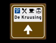 Routebord BW101 (bruin) - 4 picto's en tekst met aanpasbare pijl