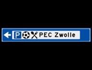 Verwijsbord object (blauw) - met 3 pictogrammen, 1 regel tekst en pijl