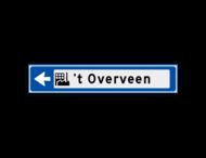 Verwijsbord KOKER Blauw/wit/zwart - pijl links, met 1 pictogram - Klasse 3 reflecterend